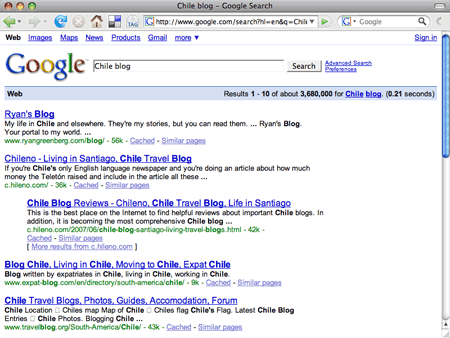 Ryan's Blog number one in Google search for 'Chile blog'